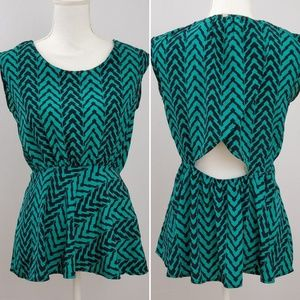Paper Crane Green Black Print Top with Open Back